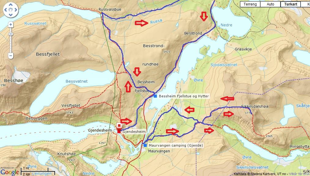kart gjendesheim stisykling jotunheimen | tommy multisport kart gjendesheim